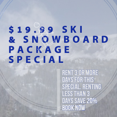 Winter Park Ski Rental 19.99 special on ski and snowboard rentals